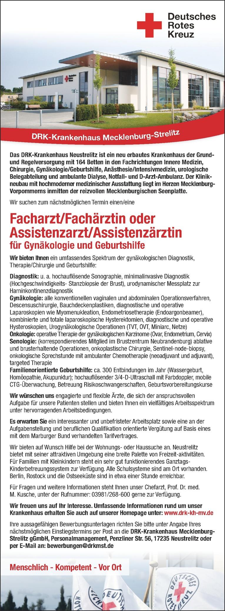 Facharzt/Fachärztin oder Assistenzarzt/Assistenzärztin für Gynäkologie und Geburtshilfe