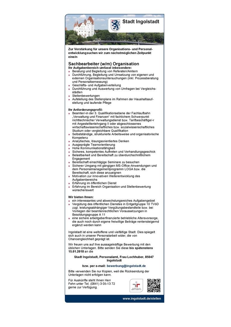 Sachbearbeiter (w/m) Organisation