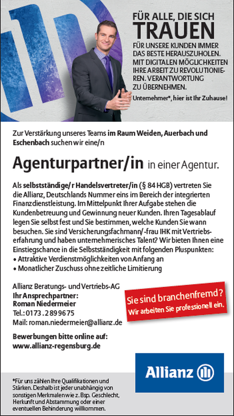 Agenturpartner/in einer Generalvertretung der Allianz