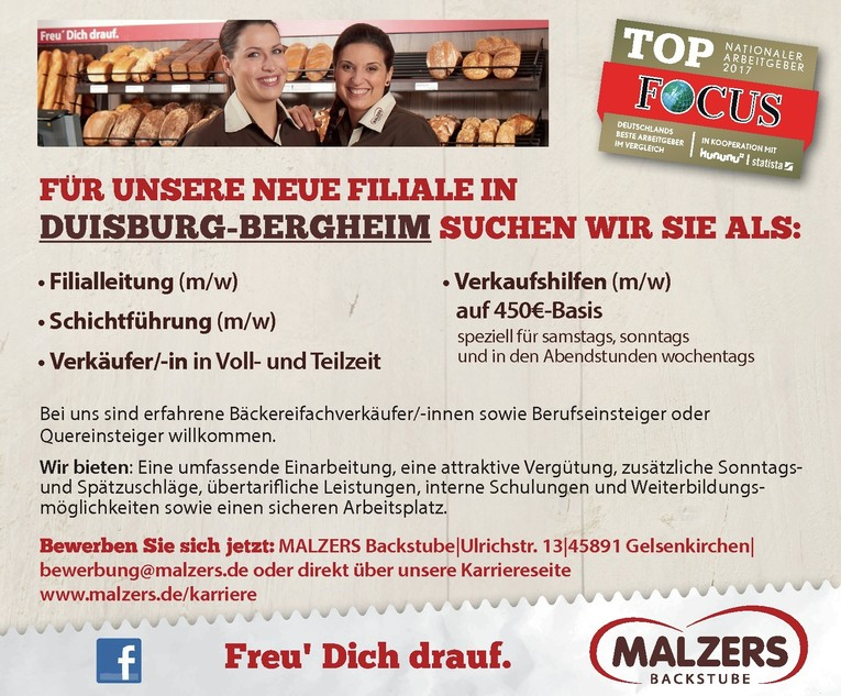 Aushilfsverkäufer/-in für unsere Neueröffnung in Duisburg-Bergheim
