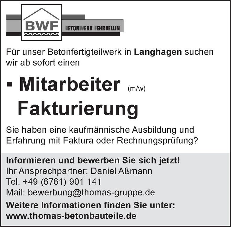 Mitarbeiter (m/w) Fakturierung