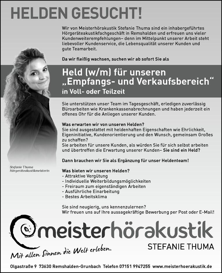 """Held für unseren """"Empfangs- und Verkaufsbereich"""" (m/w)"""