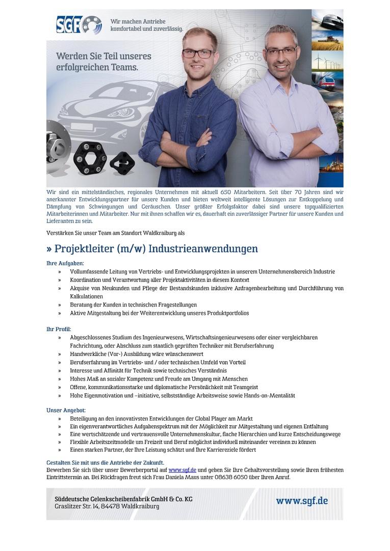 Projektleiter (m/w) Industrieanwendungen