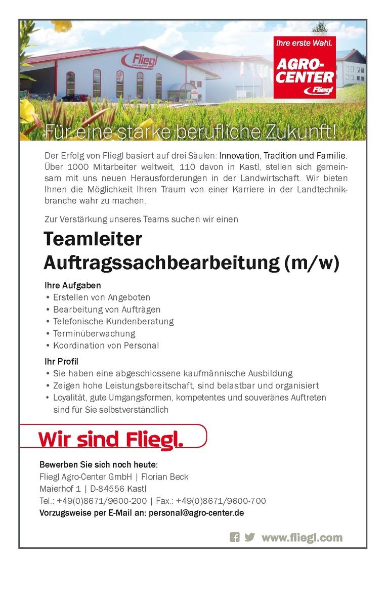 Teamleiter Auftragssachbearbeitung m/w