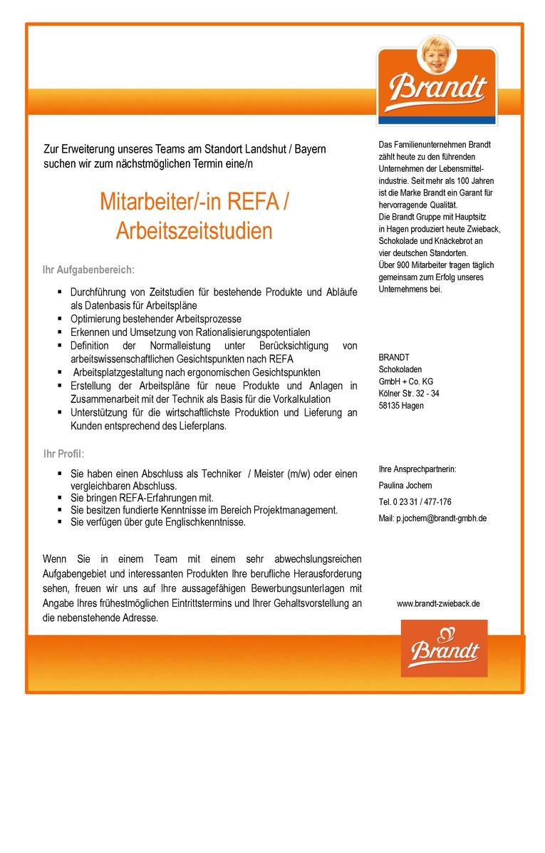 Mitarbeiter REFA / Arbeitszeitstudien (m/w)