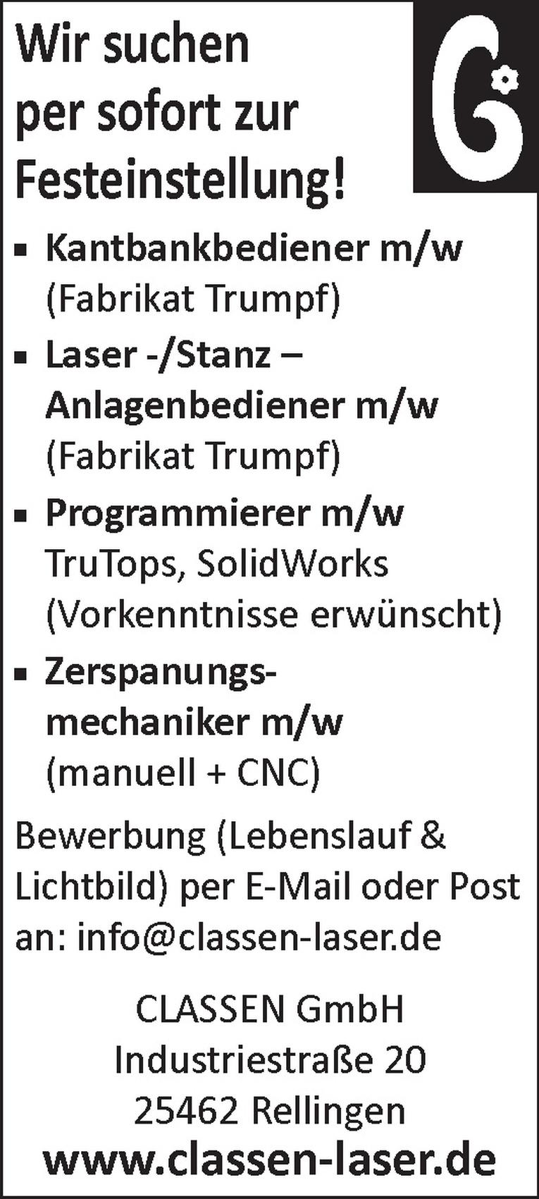 Laser -/Stanz – Anlagenbediener m/w