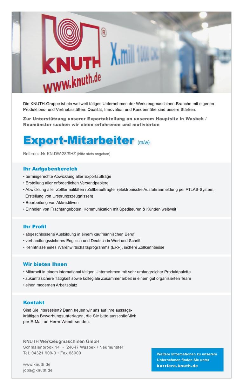 Export-Sachbearbeiter (m/w)