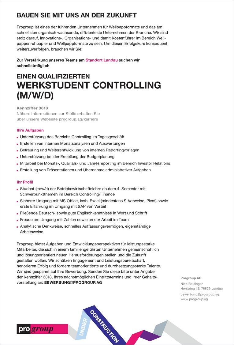 werkstudent mw controlling - Bewerbung Controlling