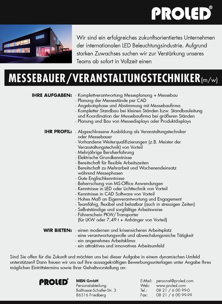 MESSEBAUER / VERANSTALTUNGSTECHNIKER (m/w)