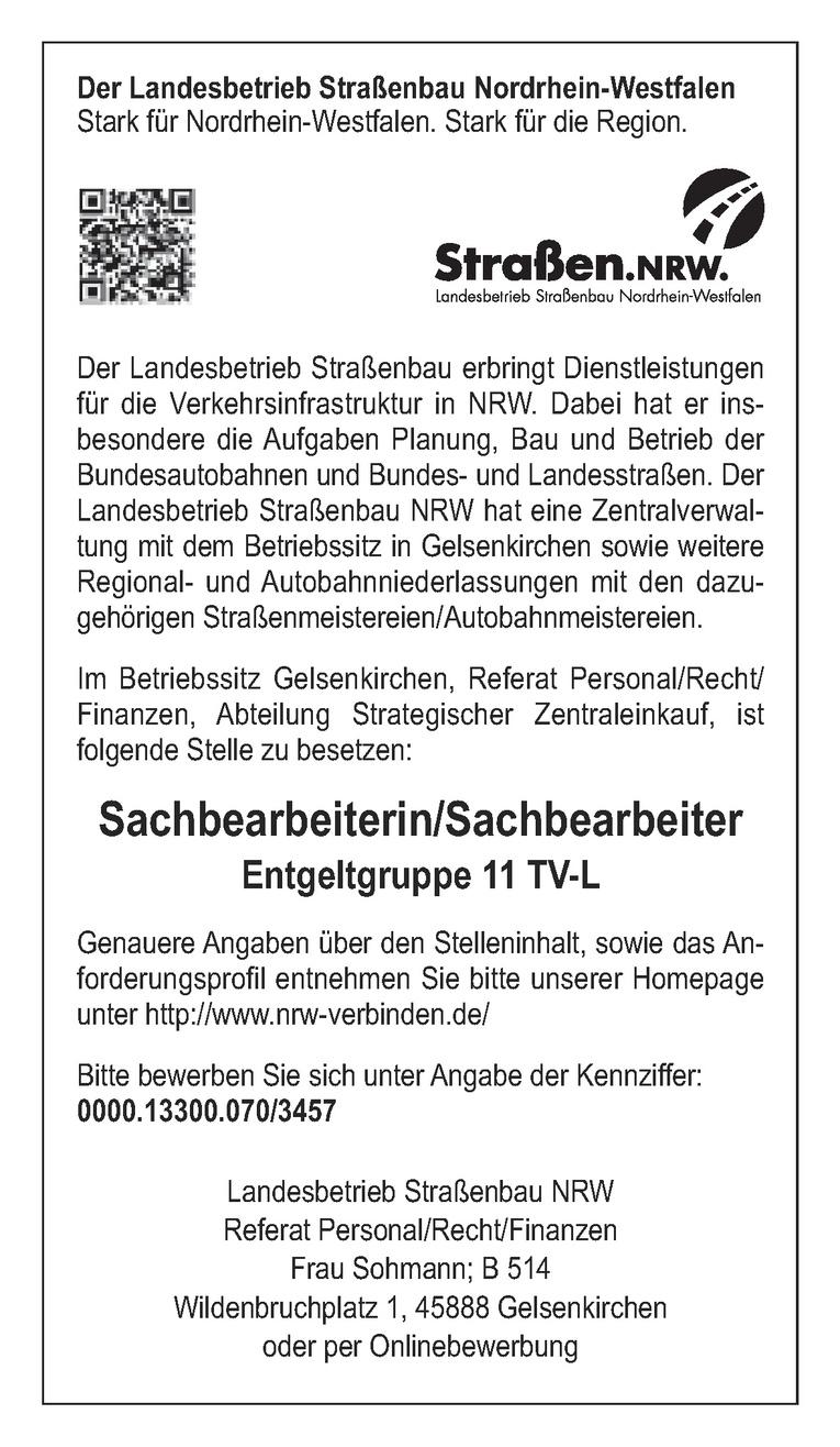 Sachbearbeiterin / Sachbearbeiter 2.1 (3457) - Strategischer Zentraleinkauf - befristet