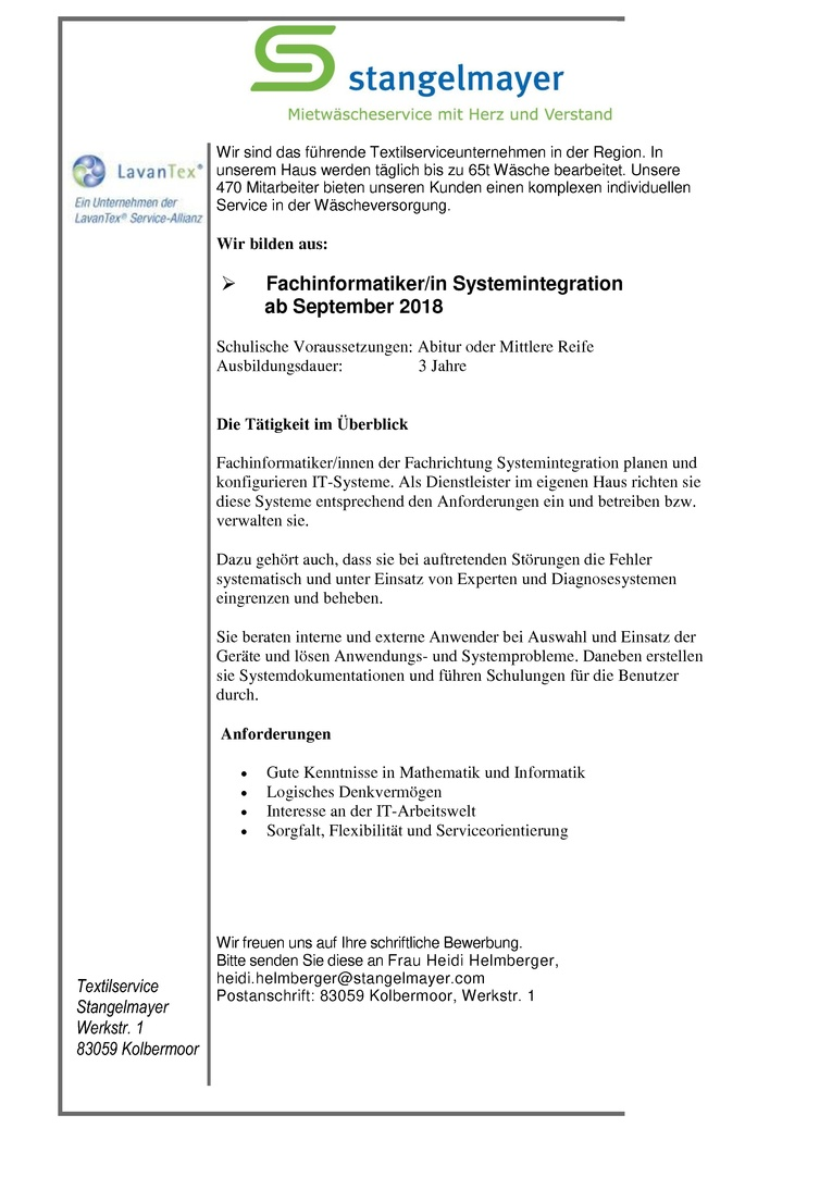 Auszubildende/r zur/m Fachinformatiker/in Systemintegration ab September 2018