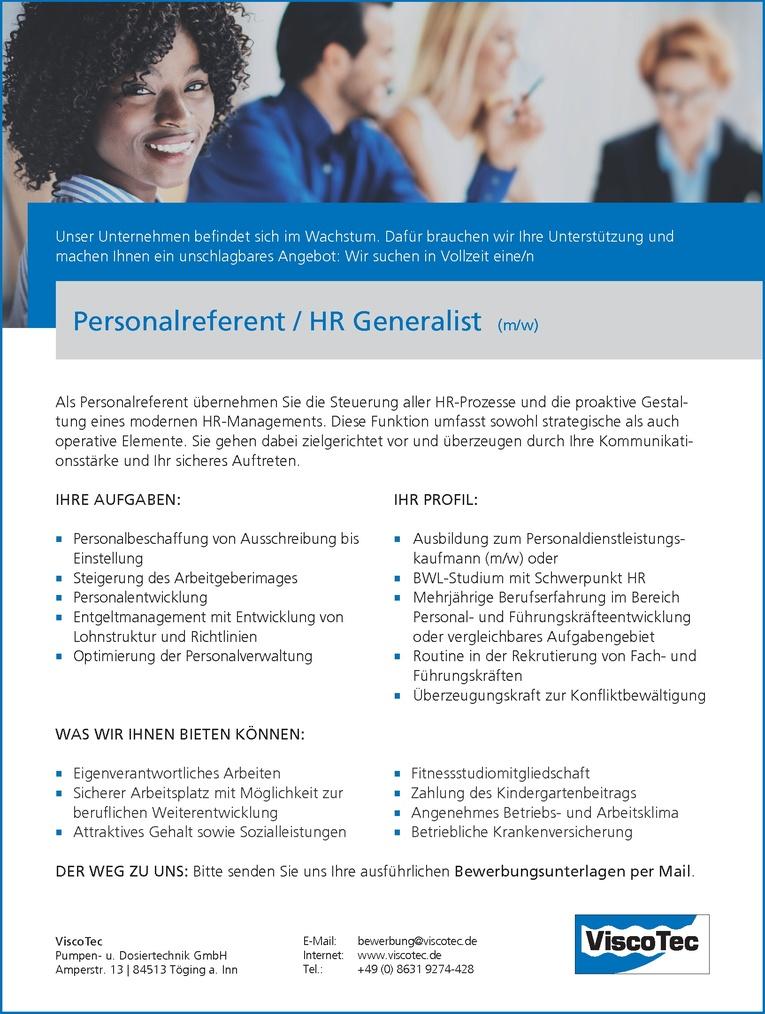 Personalreferent / HR Generalist (m/w)