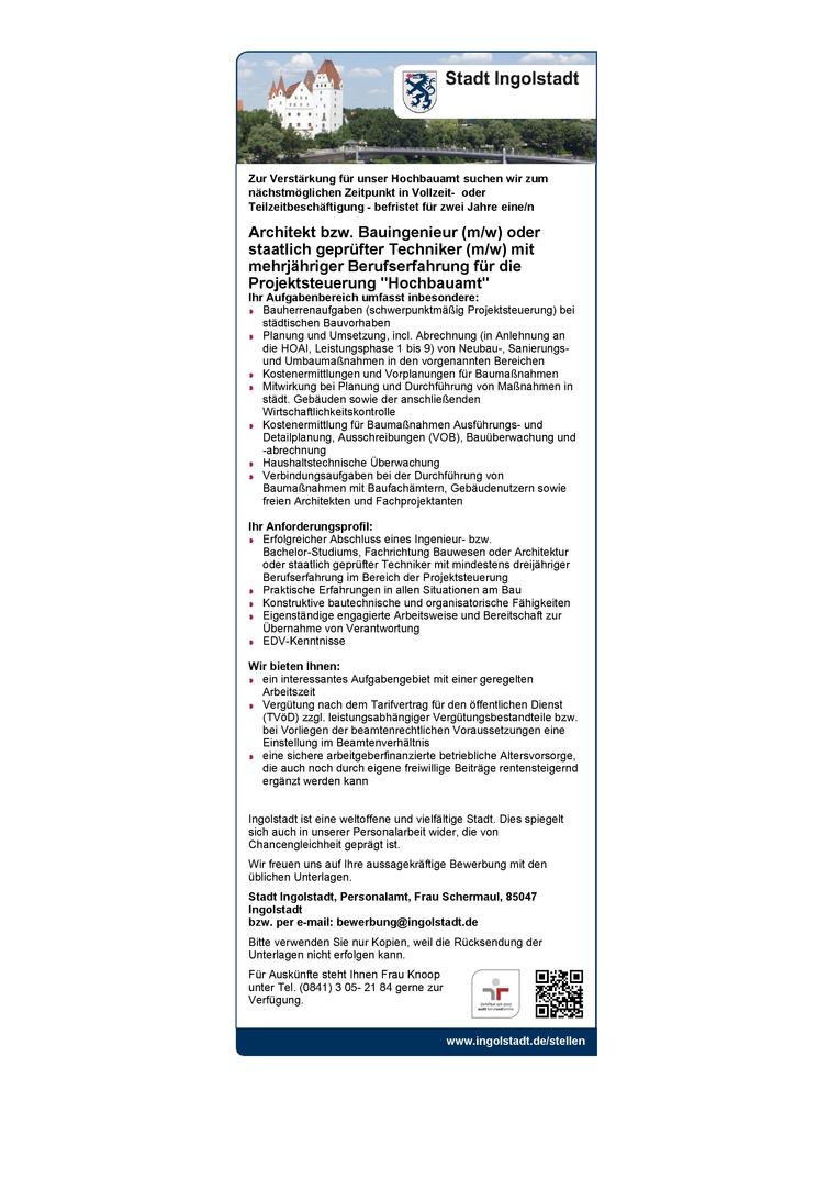 Architekt bzw. Bauingenieur (m/w) oder staatlich geprüfter Techniker (m/w)