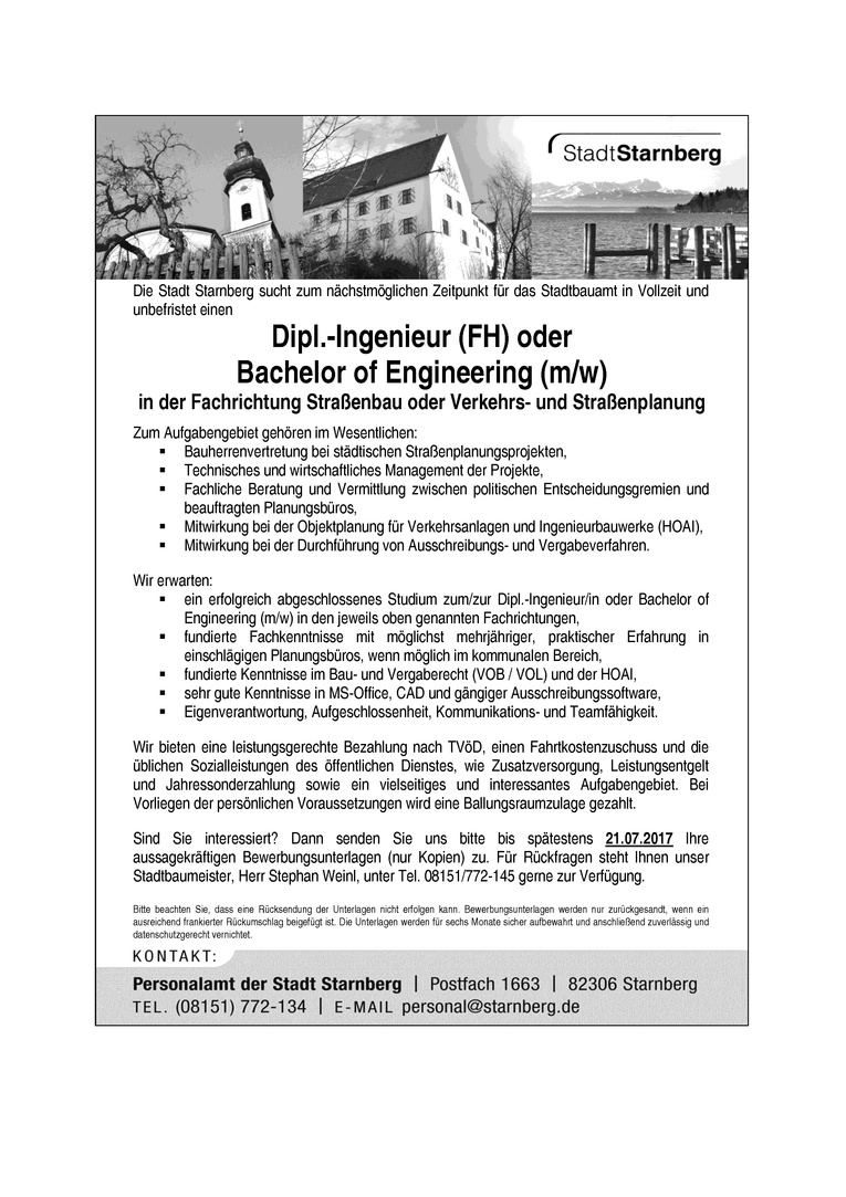 Dipl.-Ingenieur (FH) oder Bachelor of Engineering (m/w)