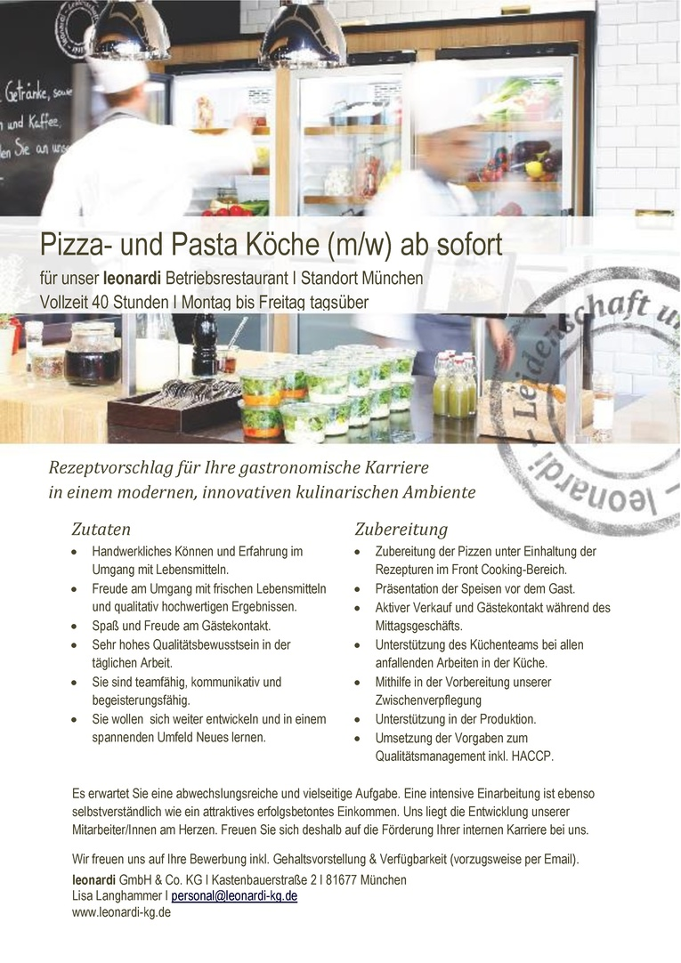 Pizza- und Pasta Köche (m/w)