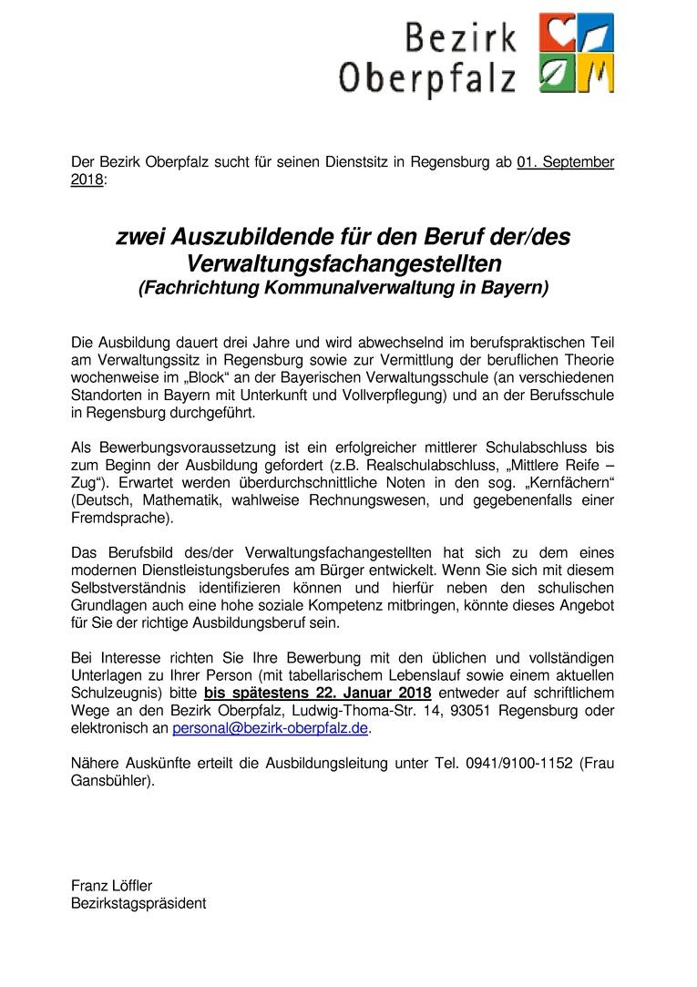 Auszubildene für den Beruf der/des Verwaltungsfachangestellten, Fachrichtung Kommunalverwaltung in Bayern