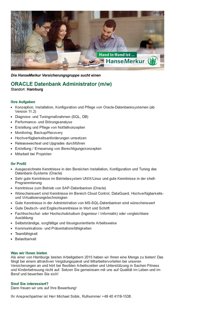 ORACLE Datenbank Administrator (m/w)
