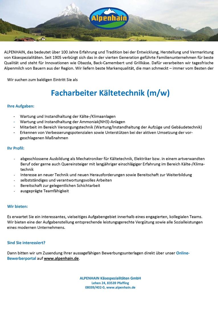 Facharbeiter Kältetechnik / Facharbeiterin Kältetechnik
