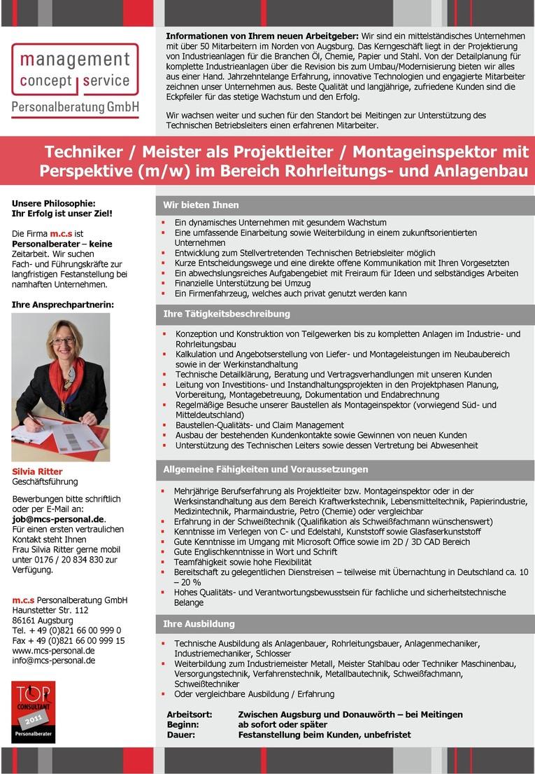 Techniker / Meister als Projektleiter / Montageinspektor mit Perspektive m/w im Bereich Rohrleitungs- und Anlagenbau