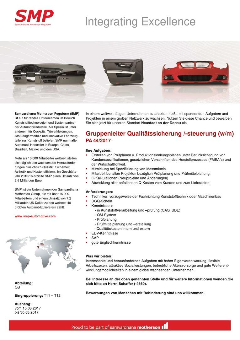 Gruppenleiter Qualitätssicherung /-steuerung (w/m)