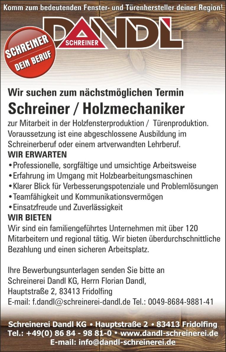 Schreiner / Holzmechaniker (m/w)