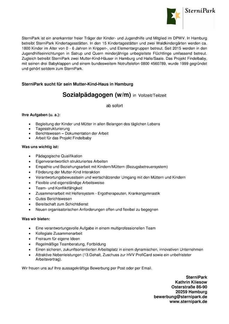 SterniPark sucht für sein Mutter-Kind-Haus Sozialpädagogen (w/m)