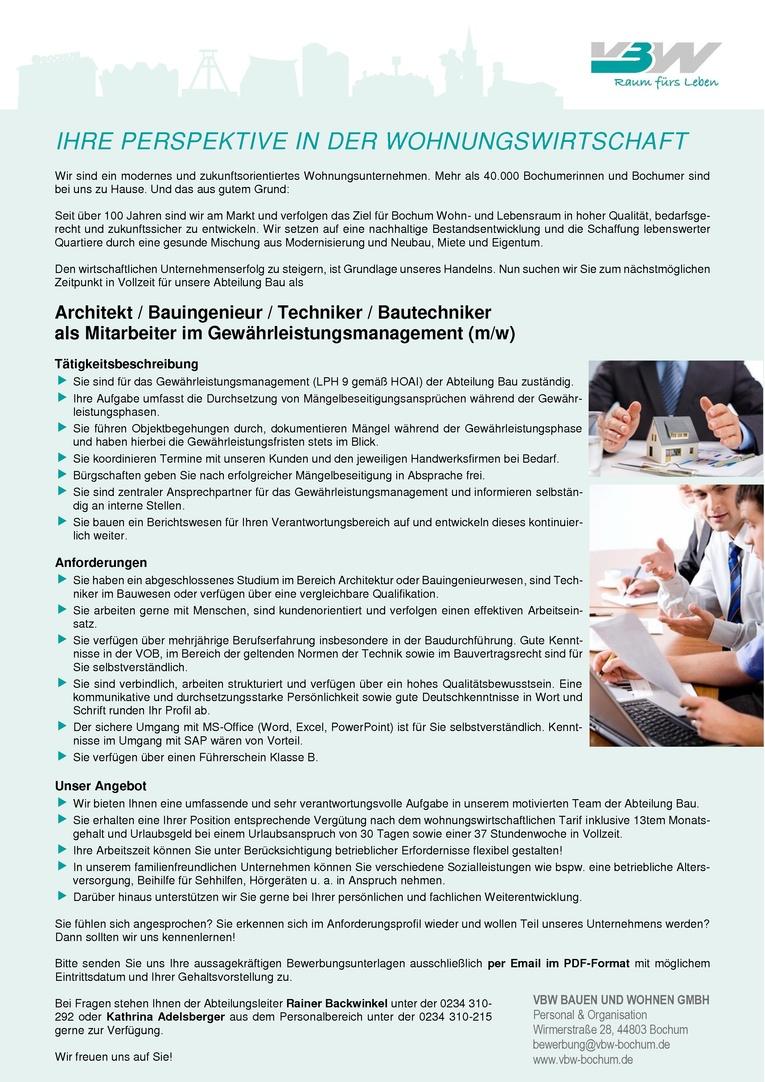 Architekt / Bauingenieur / Techniker / Bautechniker als Mitarbeiter im  Gewährleistungsmanagement (m/w)