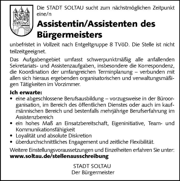 Assistentin / Assistenten des Bürgermeisters