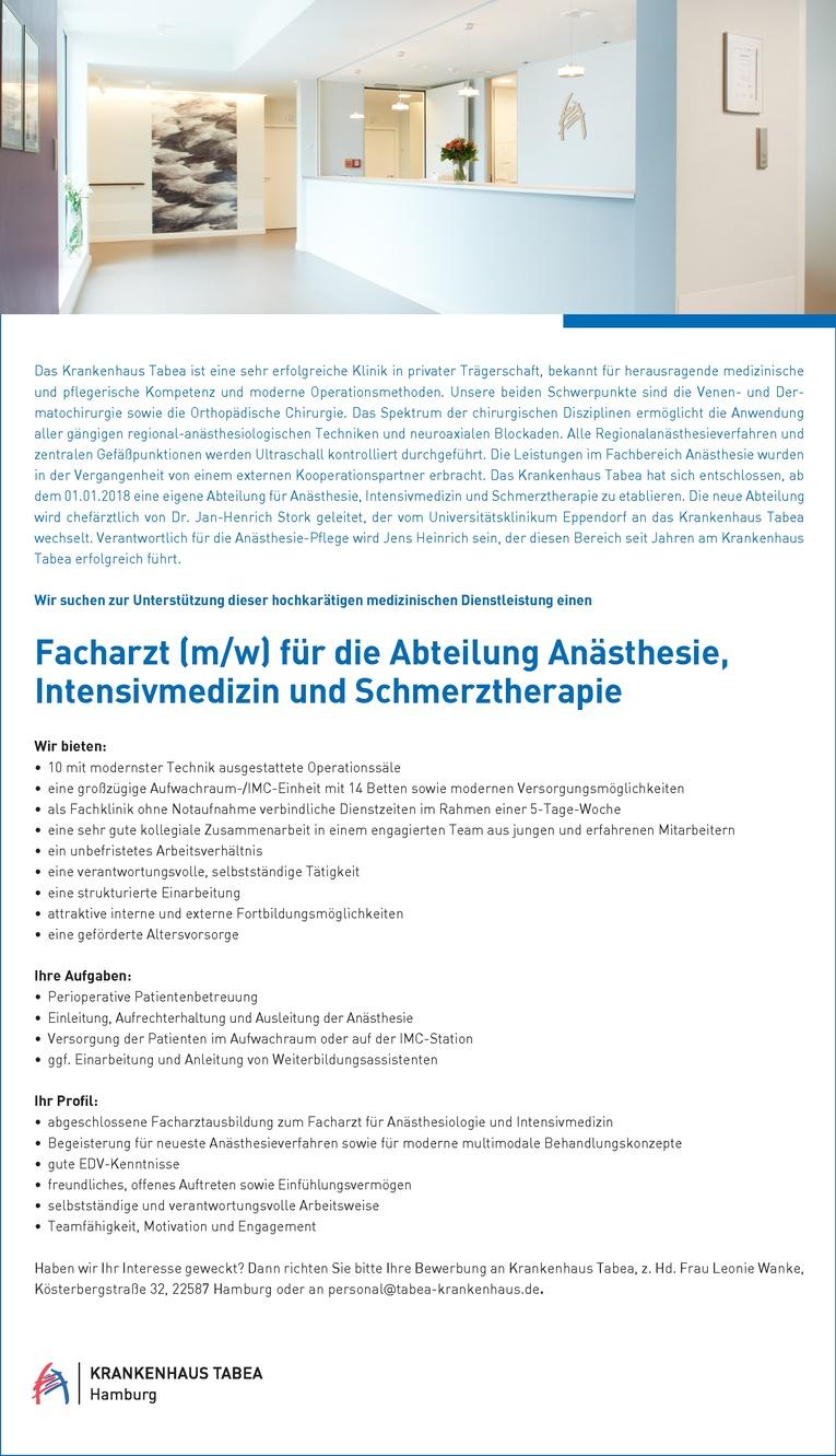 Facharzt (m/w) für die Abteilung Anästhesie, Intensivmedizin und Schmerztherapie
