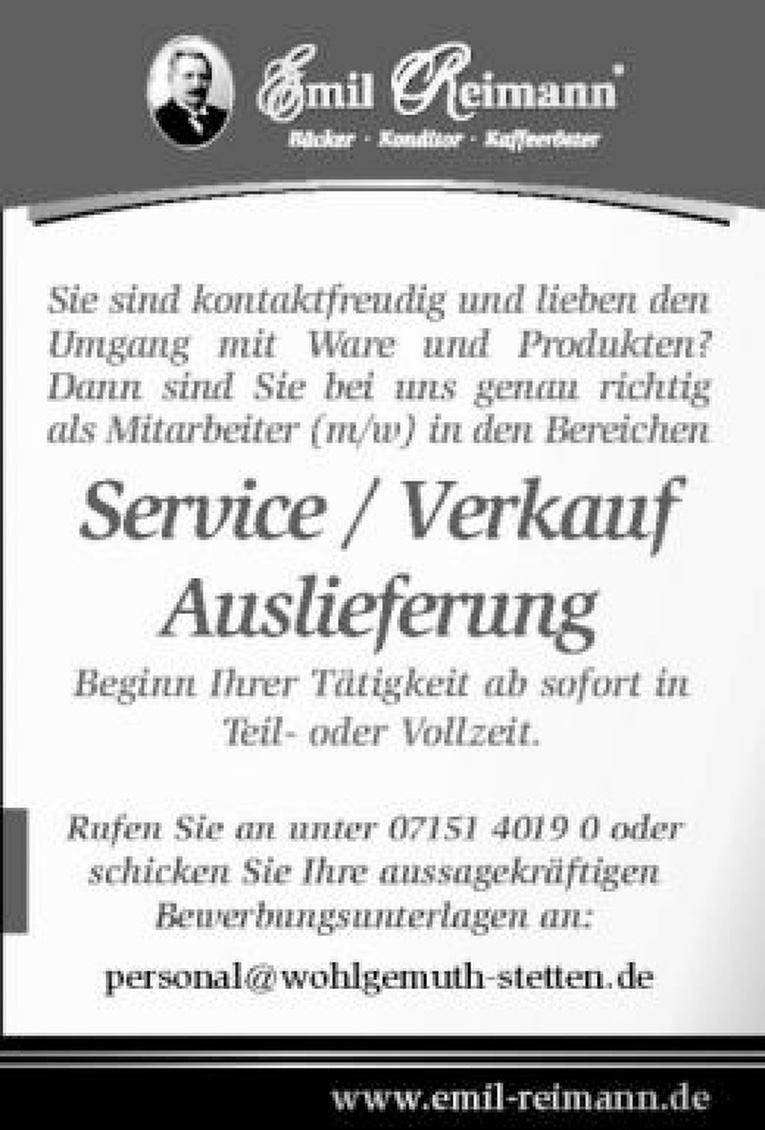 Service/ Verkauf / Auslieferung (m/w)