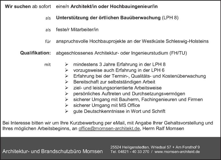 Architekt/in oder Hochbauingenieur/in