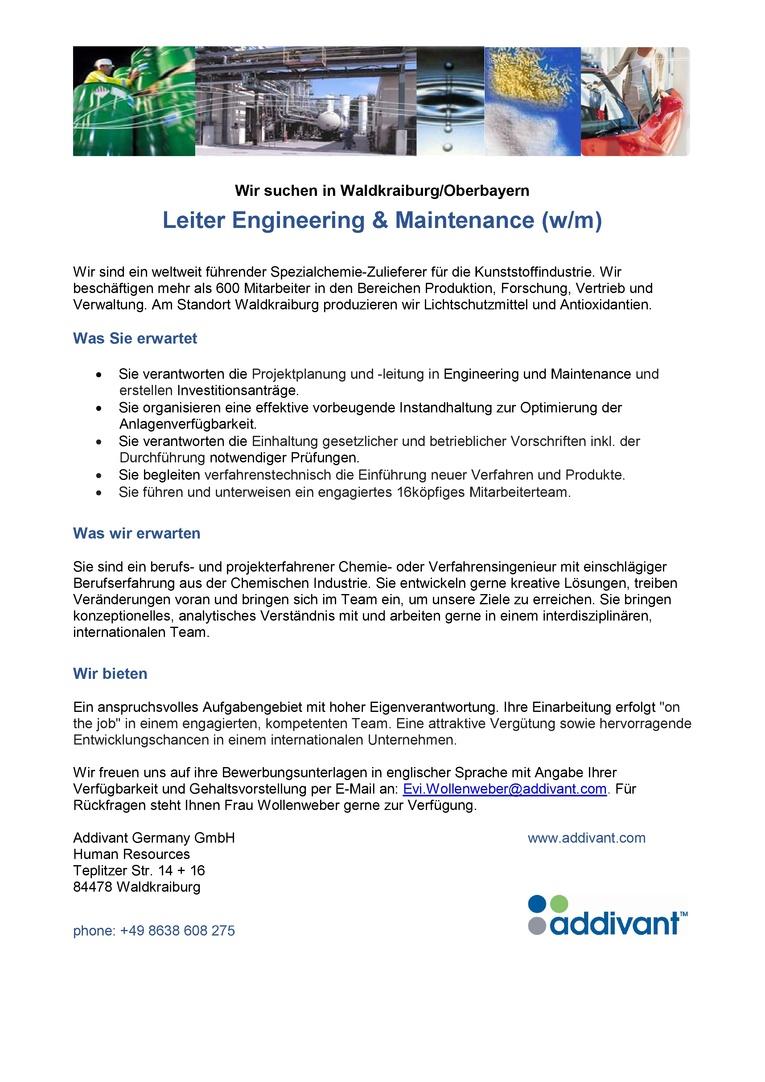 Leiter Engineering & Maintenance (w/m)