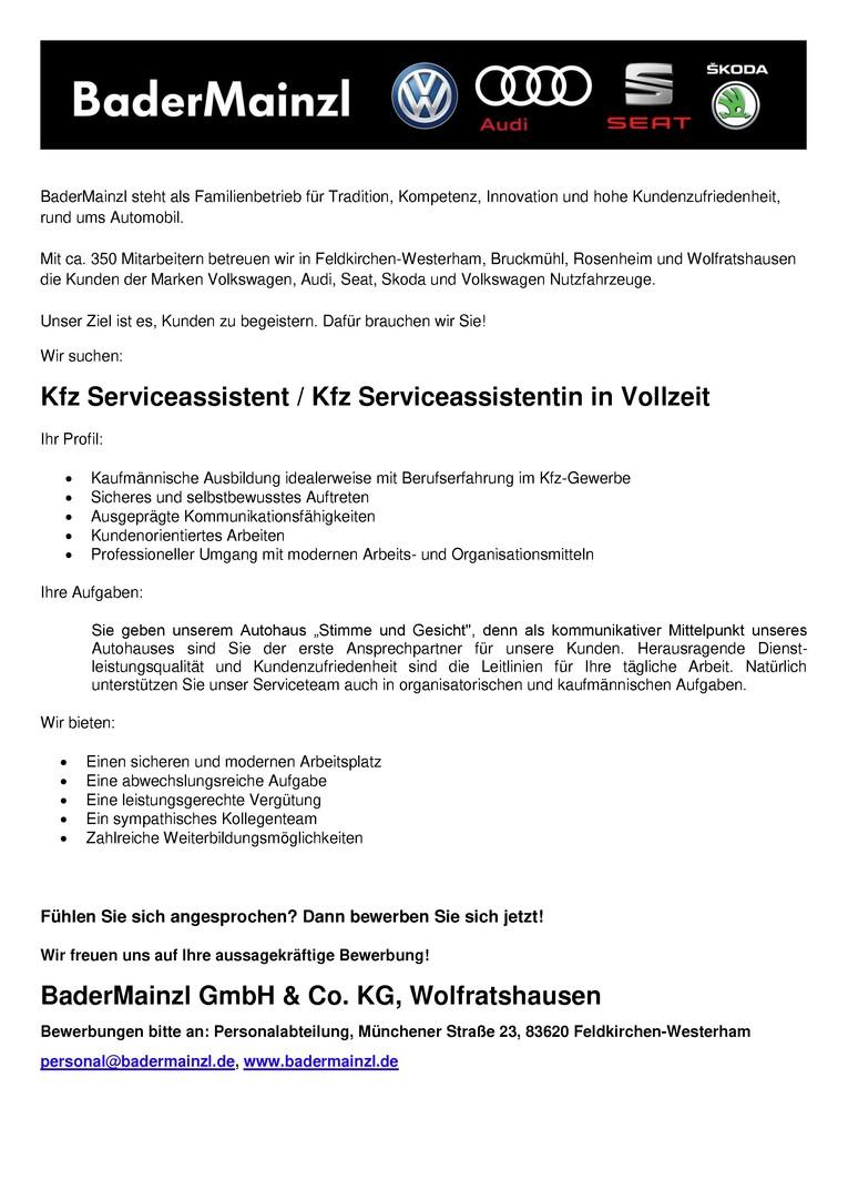 Kfz Serviceassistent / Kfz Serviceassistentin