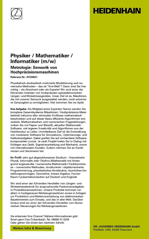 Physiker / Mathematiker / Informatiker (m/w)