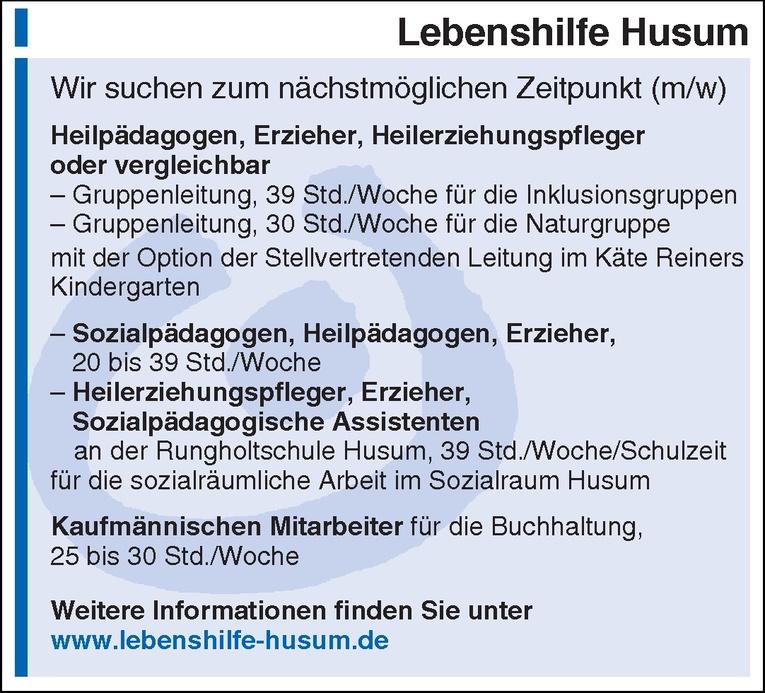 Heilerziehungspfleger, Erzieher, Sozialpädagogische Assistenten (m/w)