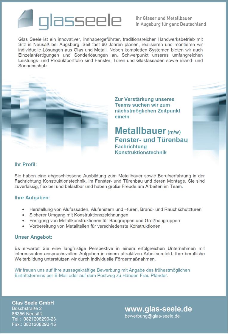 Metallbauer - Fachrichtung Konstruktionstechnik m/w