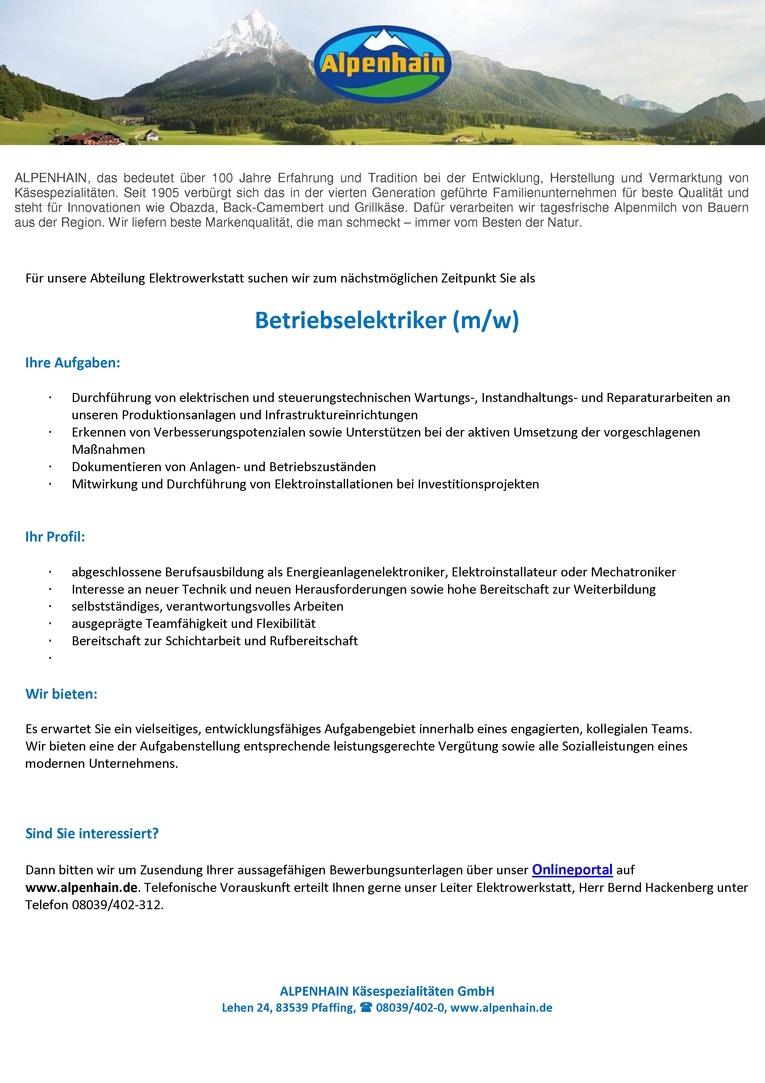 Betriebselektriker / Betriebselektrikerin