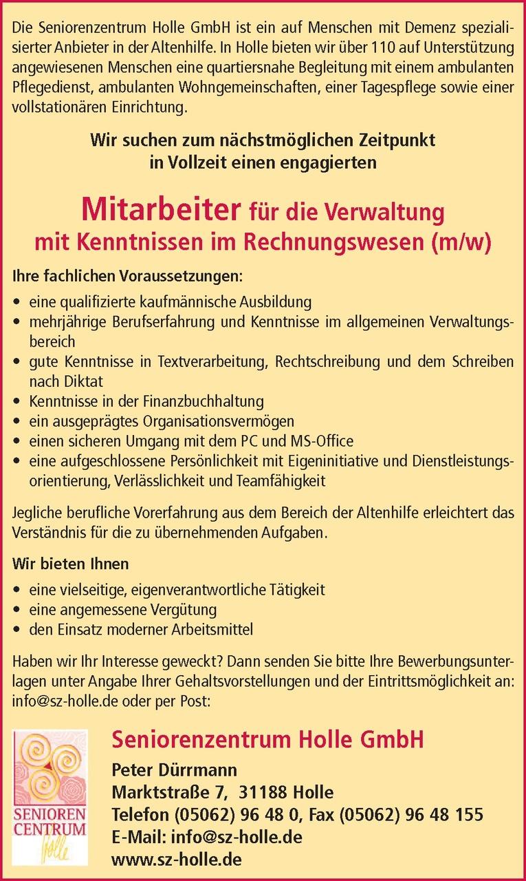 Mitarbeiter für die Verwaltung (m/w)