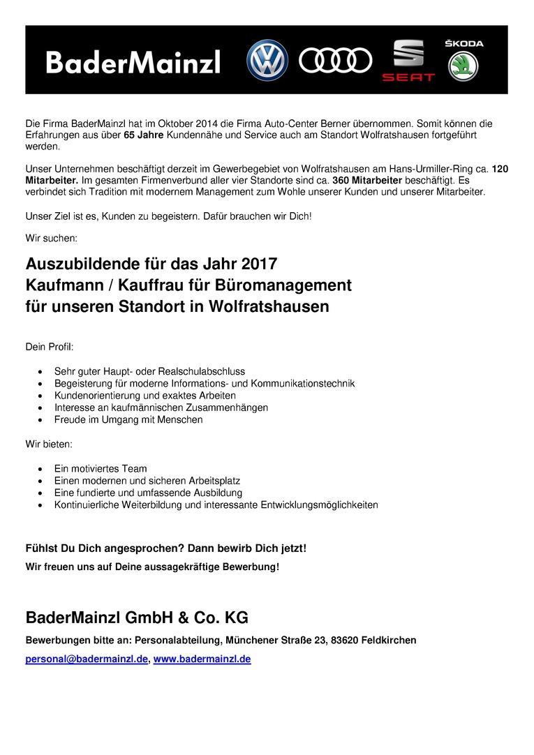 Auszubildende 2017 - Kaufmann / Kauffrau für Büromanagement