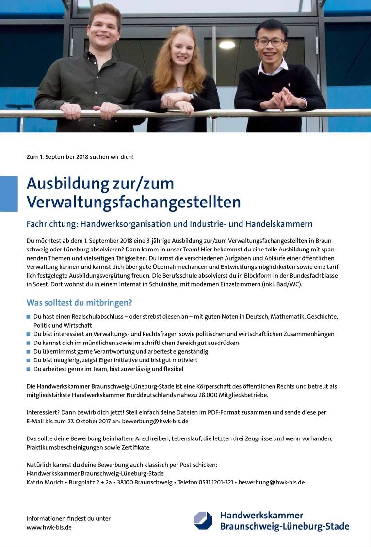 Ausbildung zur/zum Verwaltungsfachangestellten Fachrichtung: Handwerksorganisation und Industrie- und Handelskammern