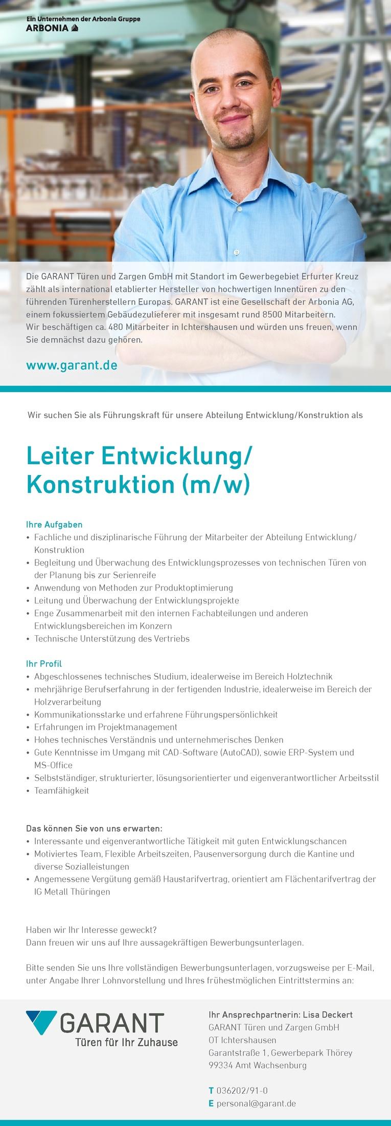 Leiter Entwicklung/ Konstruktion (m/w)