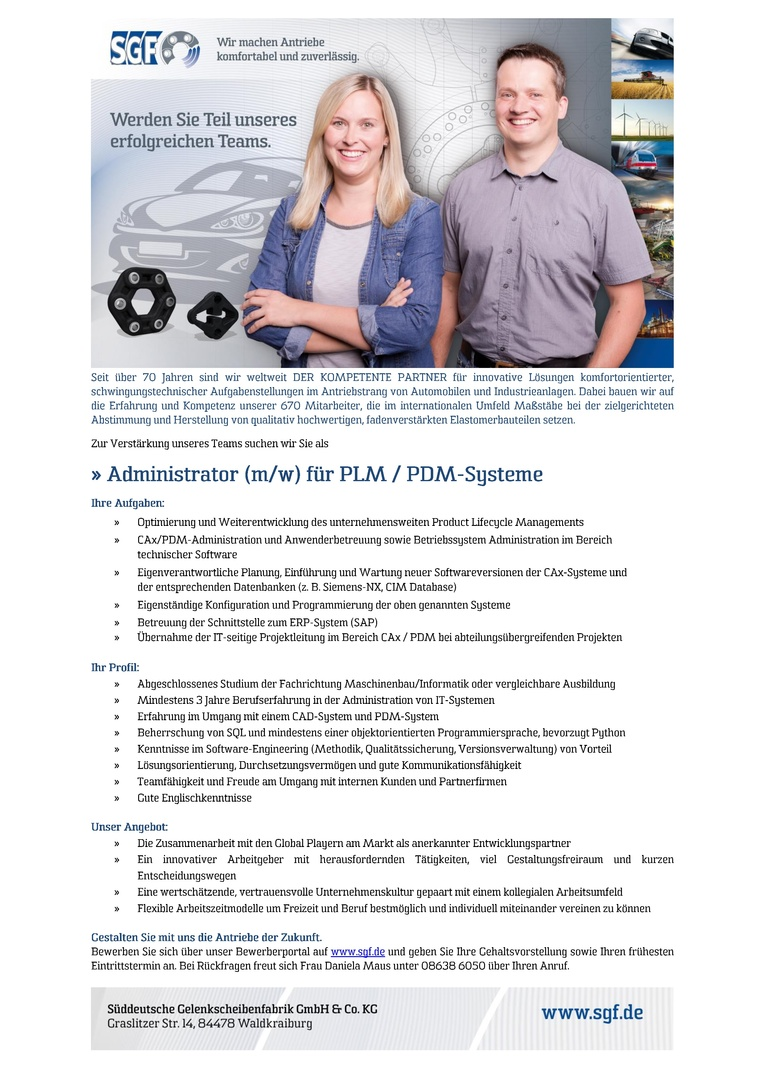 Administrator (m/w) für PLM/PDM-Systeme