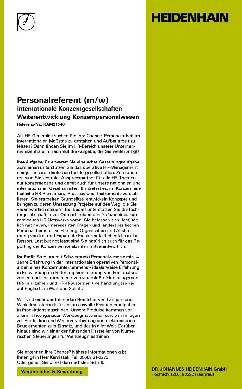 Personalreferent (m/w) internationale Konzerngesellschaften – Weiterentwicklung Konzernpersonalwesen