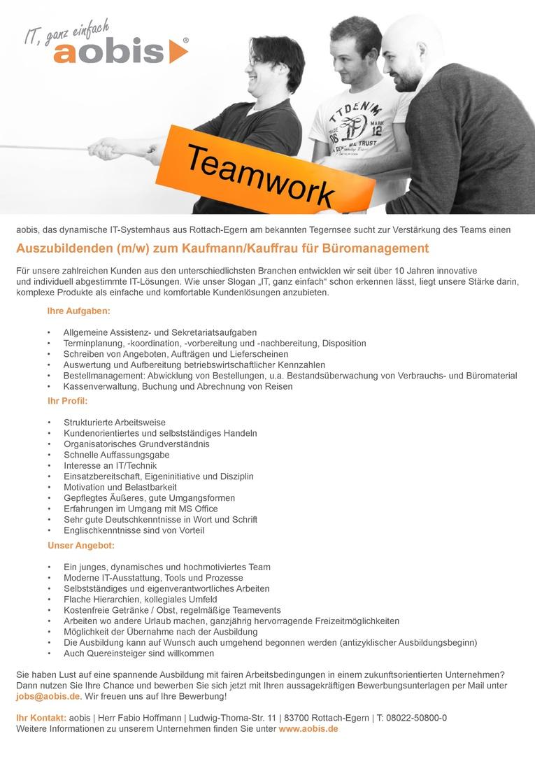 Auszubildender (m/w) zum Kaufmann/Kauffrau für Büromanagement