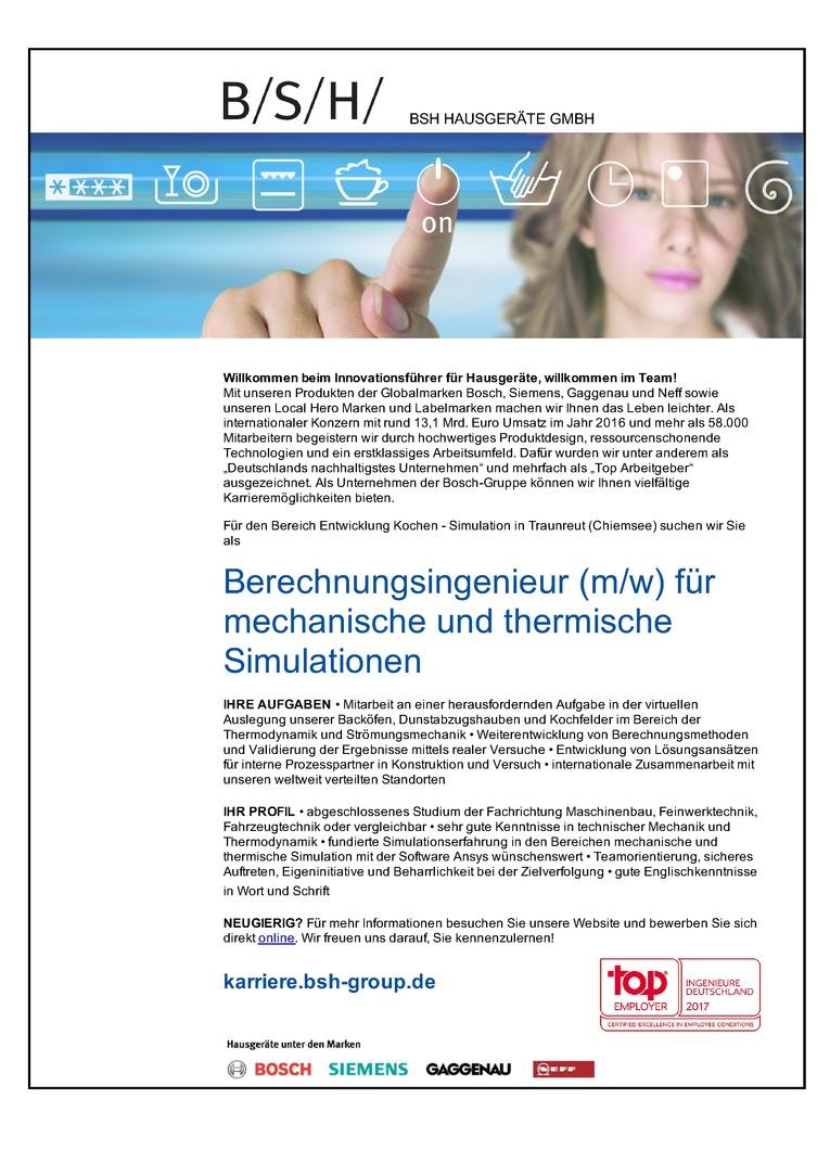 Berechnungsingenieur (m/w) für mechanische und thermische Simulationen