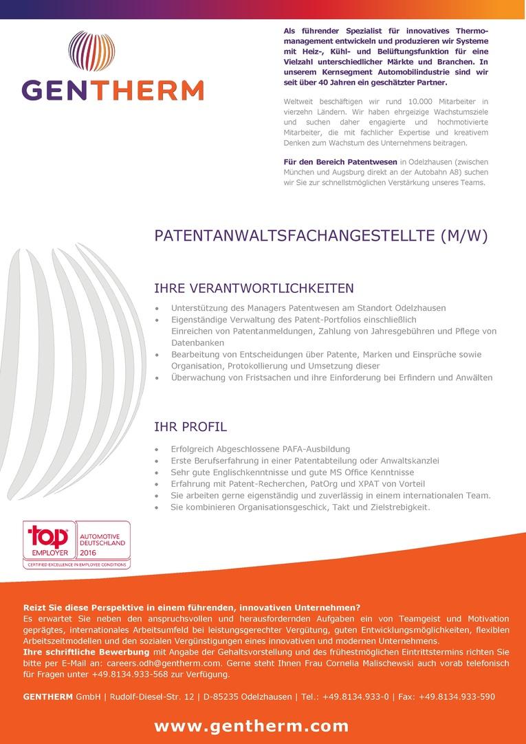 Patentanwaltsfachangestellte (m/w)