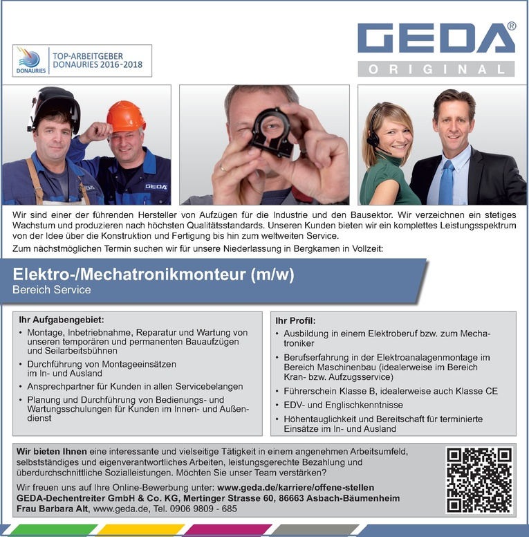 Elektro- / Mechatronikmonteur (m/w)