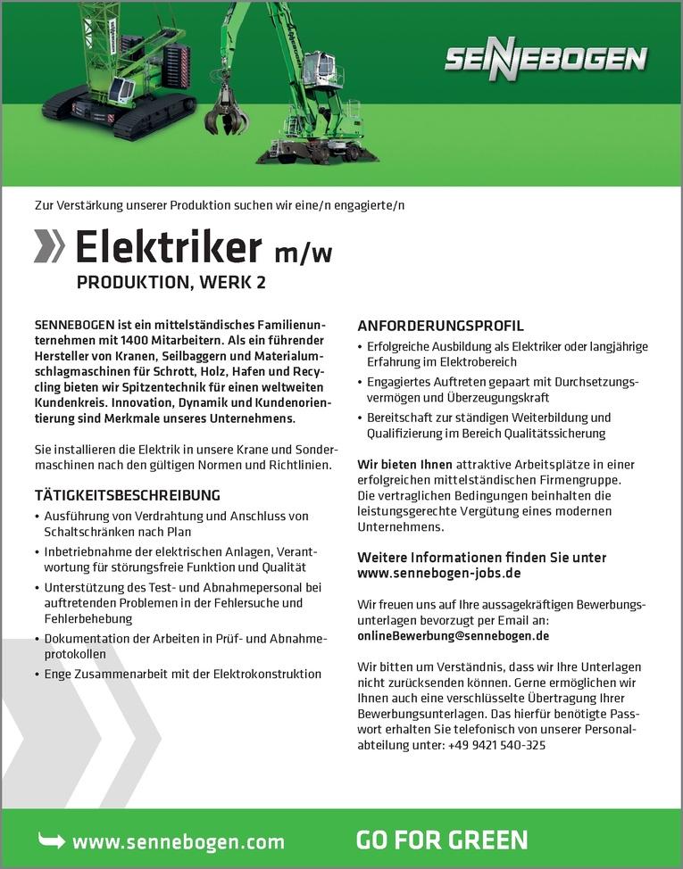 Job: Elektriker (m/w) Job-Nr. 3010
