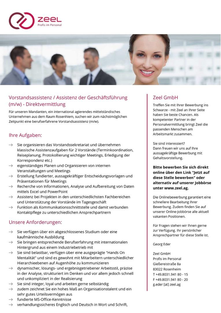 Vorstandsassistenz / Assistenz der Geschäftsführung (m/w) - Direktvermittlung