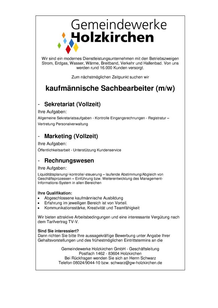 Kaufmännische Sachbearbeiter Rechnungswesen (m/w) Bürokraft